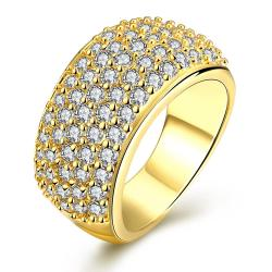 Vienna Jewelry Gold Plated Classical Pave' Ring - Thumbnail 0