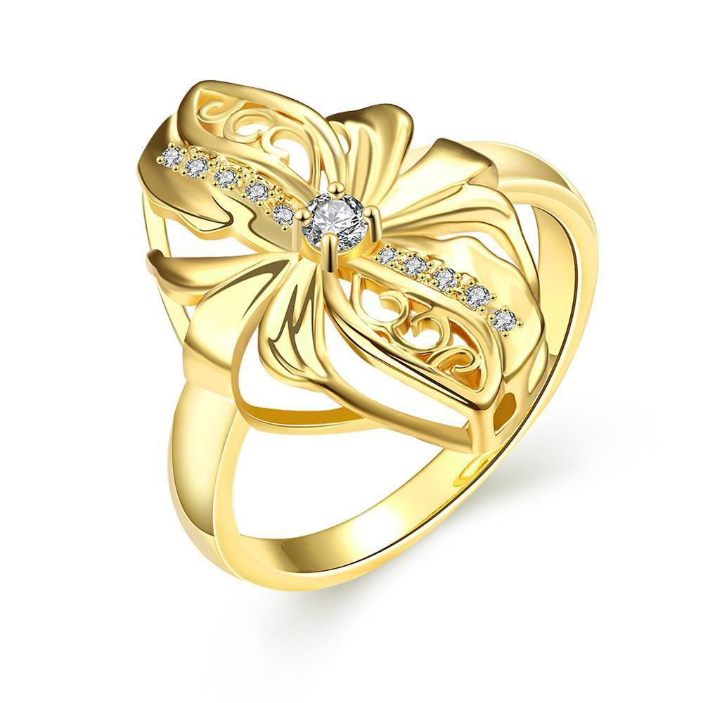 Vienna Jewelry Gold Plated Abstract Floral Petal Ring