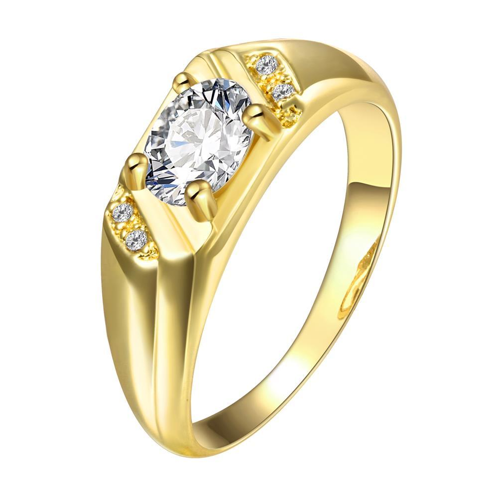 Vienna Jewelry Gold Plated Orbit Crystal Ring