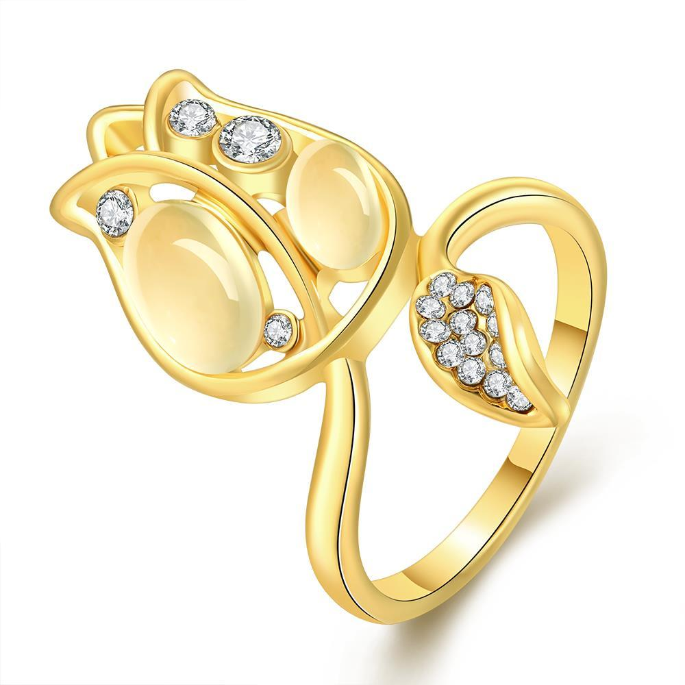 Vienna Jewelry Gold Plated Floral Orchid Covered with Jewels Ring Size 7