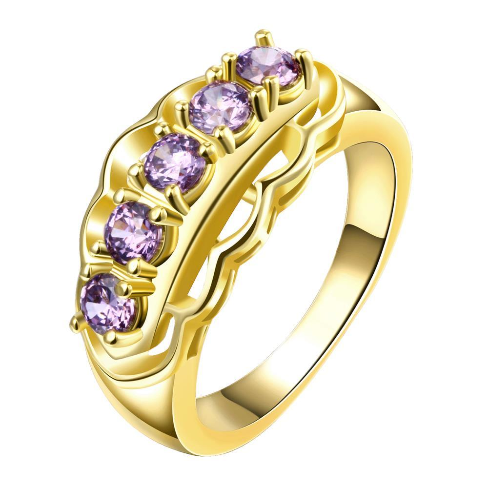 Vienna Jewelry Gold Plated Purple Citrine Accent Gems Ring