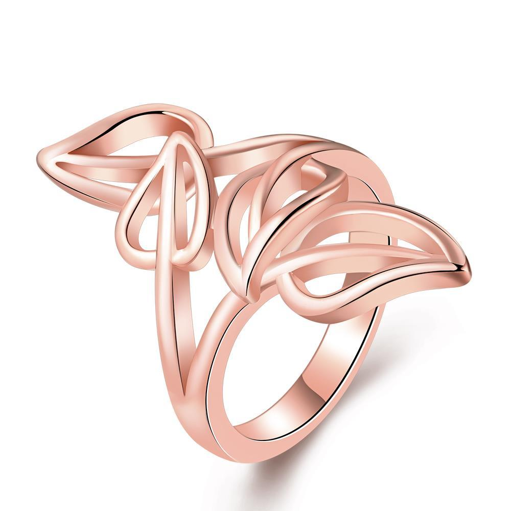 Vienna Jewelry Rose Gold Plated Multi-Leaf Branch Design Ring Size 8