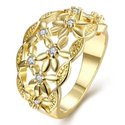 Vienna Jewelry Gold Plated Floral Laser Cut Ring - Thumbnail 0