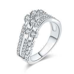 Vienna Jewelry White Gold Plated World Fusion Ring - Thumbnail 0