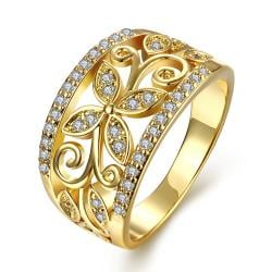 Vienna Jewelry Gold Plated Floral Design Inprint Ring - Thumbnail 0