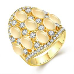 Vienna Jewelry Gold Plated Multi Pearl & Jewels Covering Ring Size 8 - Thumbnail 0