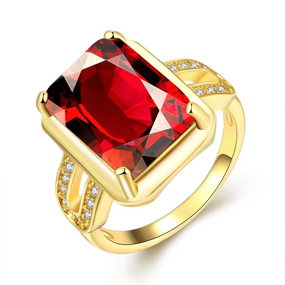 Vienna Jewelry Gold Plated New York Inspired Ruby Ring