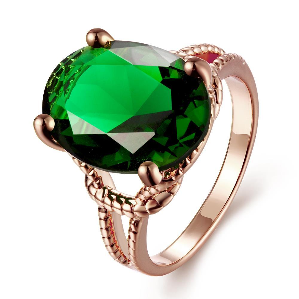 Vienna Jewelry Gold Plated Tiffany's Classic Emerald Ring