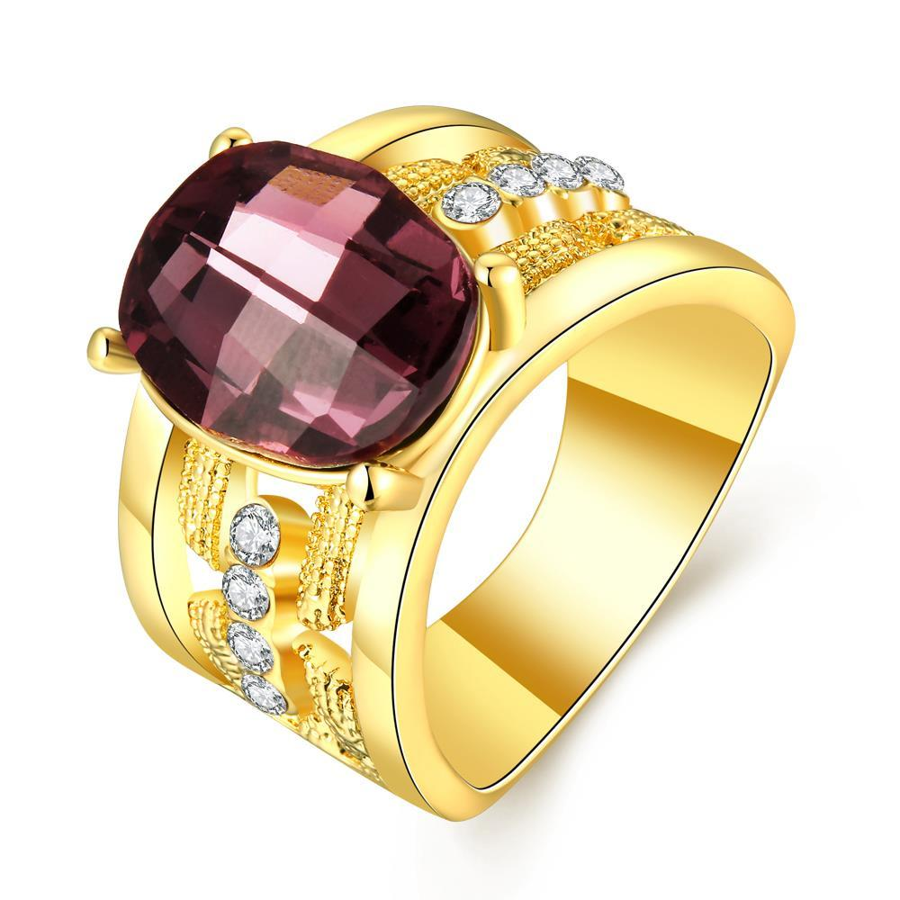 Vienna Jewelry Gold Plated Lavender Citrine Jewels Lining Ring Size 8
