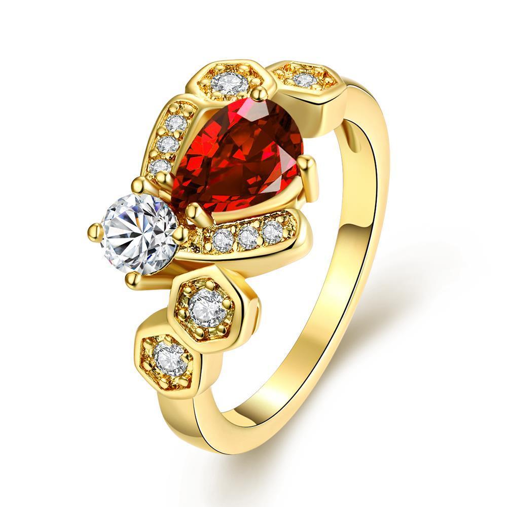 Vienna Jewelry Gold Plated Swirl Design with Gemstone Ring