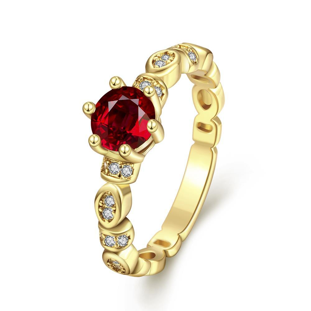 Vienna Jewelry Gold Plated Petite Ring with Gemstone