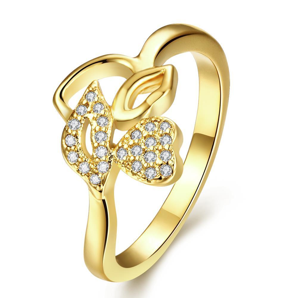 Vienna Jewelry Gold Plated Abstract Flower Petal Ring