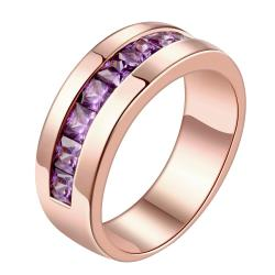 Vienna Jewelry Gold Plated Purple Citrine Lining Design Ring - Thumbnail 0