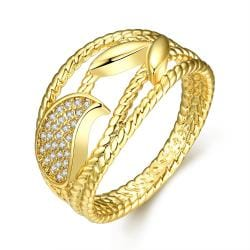 Vienna Jewelry Gold Plated Curved Swirls Lined Ring - Thumbnail 0