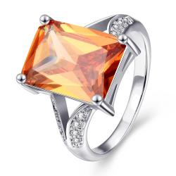 Vienna Jewelry Gold Plated Thick Citrine Cut Ring - Thumbnail 0