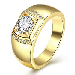 Vienna Jewelry Gold Plated Crystal Cluster Ring - Thumbnail 0