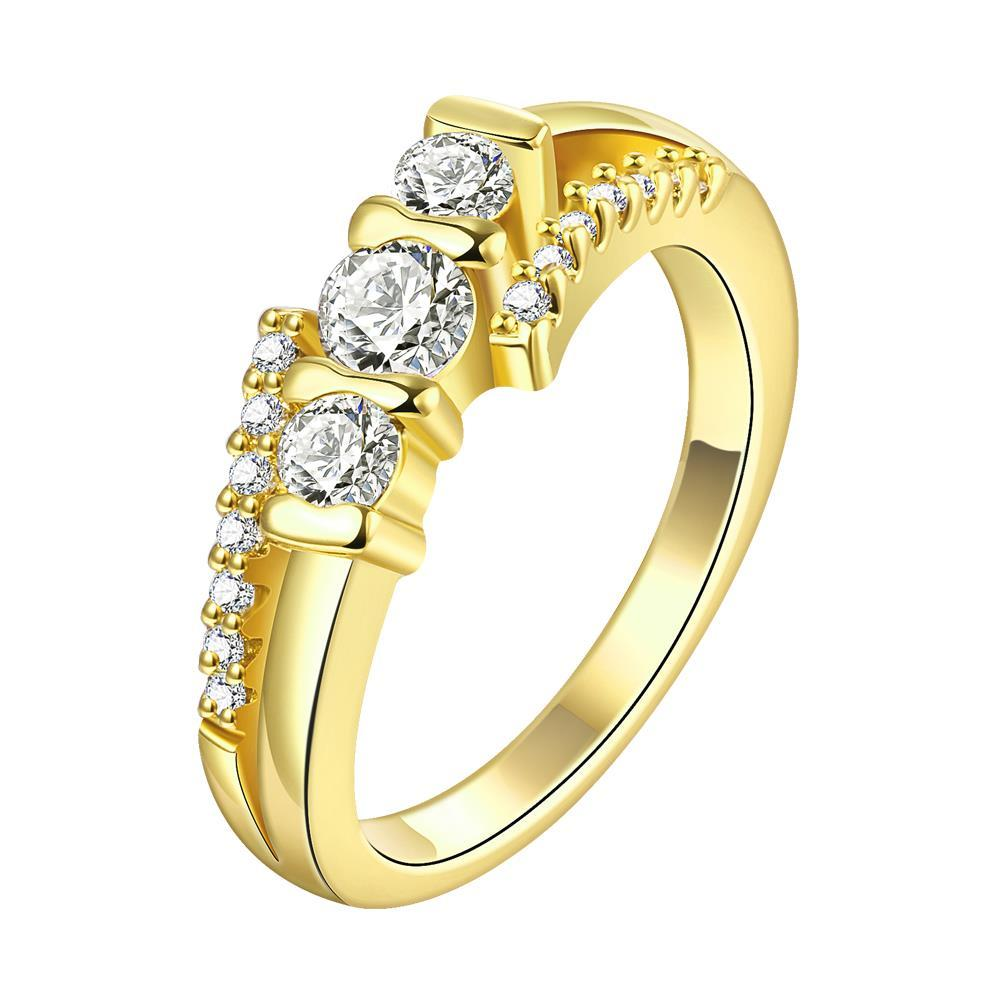 Vienna Jewelry Gold Plated Woven Layered Crystal Ring