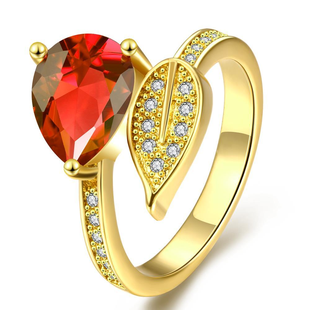 Vienna Jewelry Gold Plated Leaf Branch Gemstone Ring