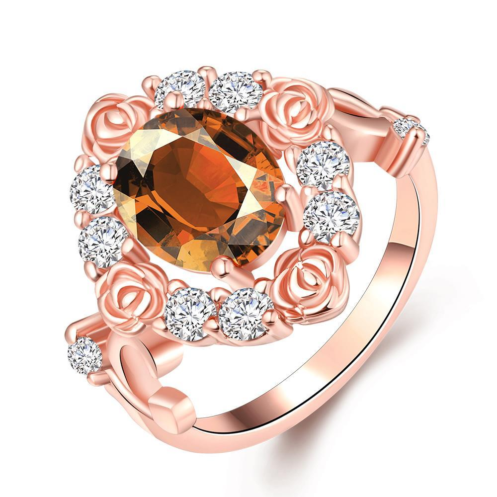 Vienna Jewelry Gold Plated Floral Petal Gemstone Ring