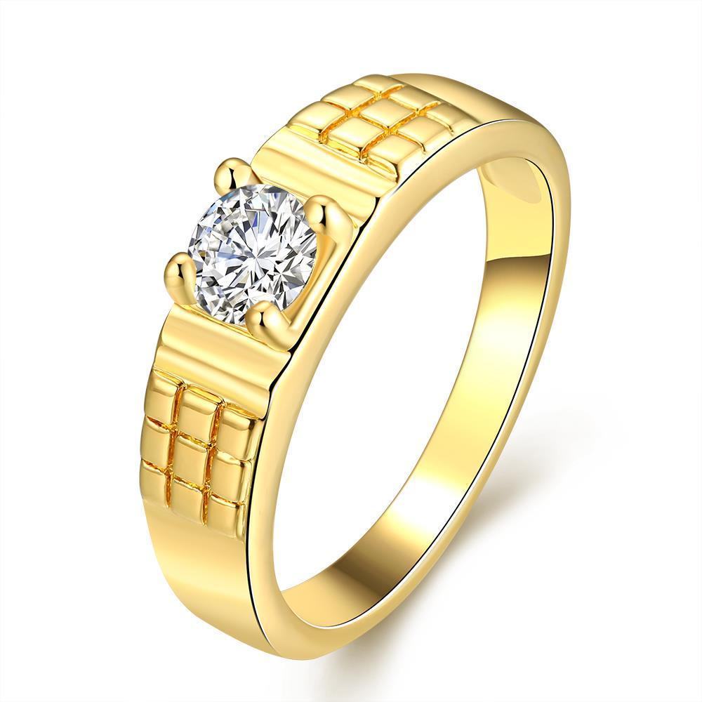 Vienna Jewelry Gold Plated Medium Cut with Jewel Centerpiece Ring