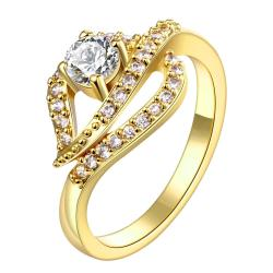 Vienna Jewelry Gold Plated Tidal Waves Crystal Ring - Thumbnail 0