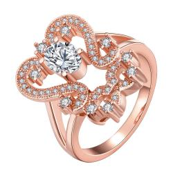 Vienna Jewelry Gold Plated Open Double Abstract Ring - Thumbnail 0