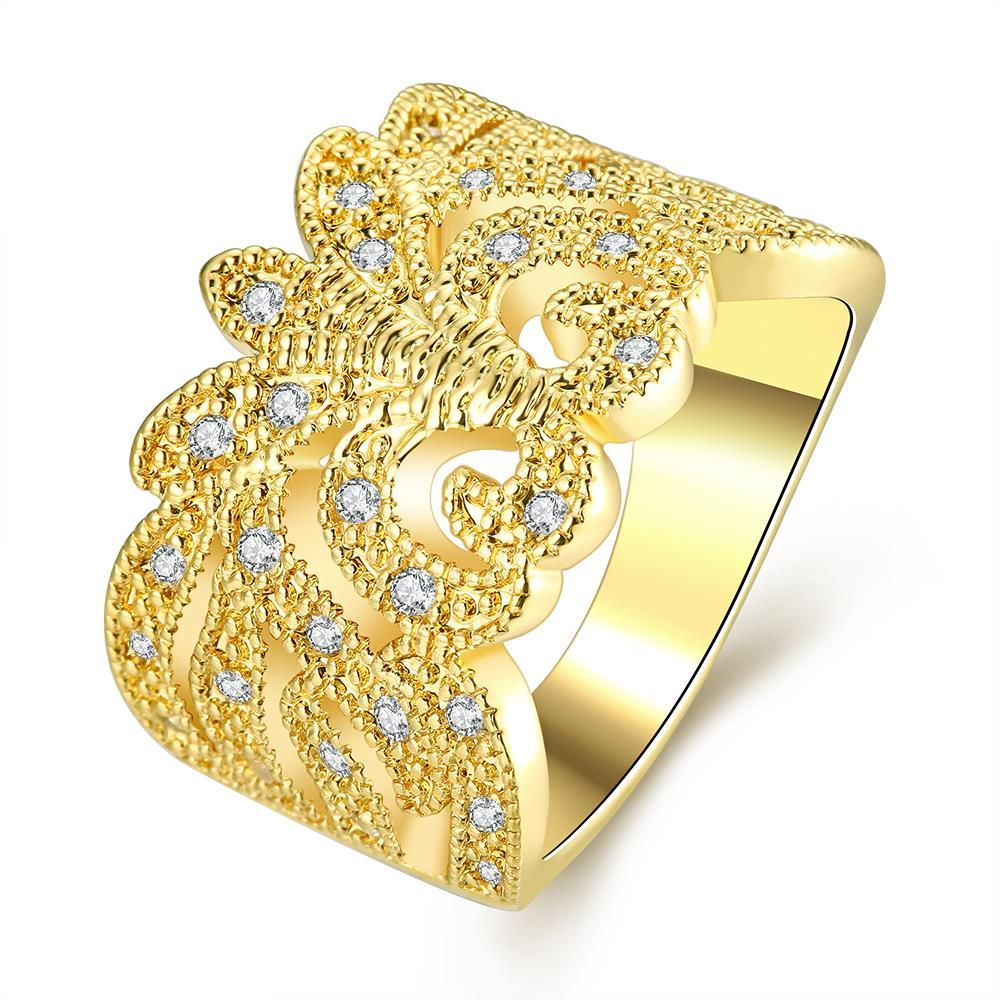 Vienna Jewelry Gold Plated Thick Cut Laser Cut Abstract Design Ring
