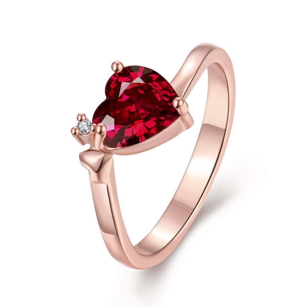 Vienna Jewelry Gold Plated Heart Shaped Gemstone Ring