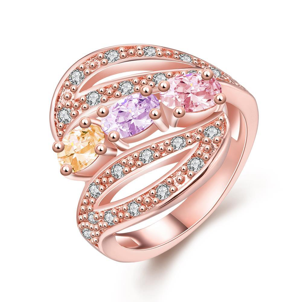 Vienna Jewelry Gold Plated Candy Colored Matrix Ring