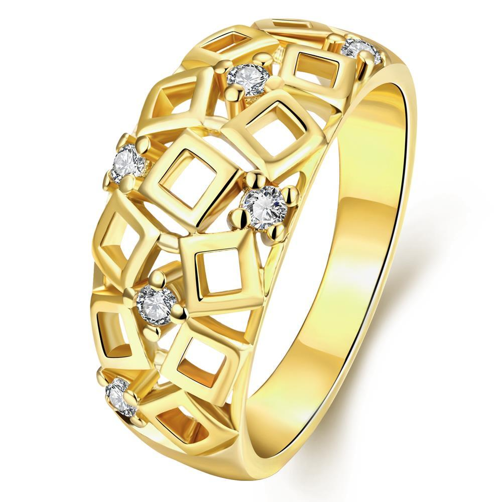 Vienna Jewelry Gold Plated Cubed Inspired Laser Cut Ring