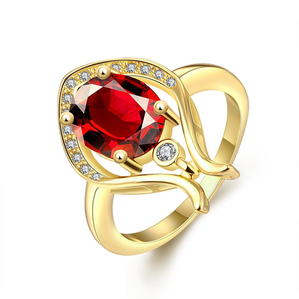 Vienna Jewelry Gold Plated Harp Design Natural Gemstone Ring