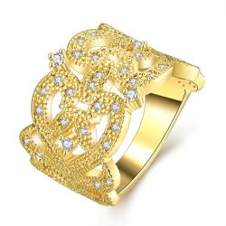 Vienna Jewelry Gold Plated Thick Cut Laser Cut Abstract Design Ring - Thumbnail 0