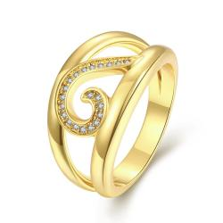 Vienna Jewelry Gold Plated Swirl Lined Modern Twist Ring - Thumbnail 0