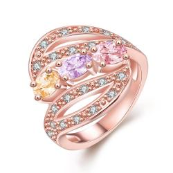 Vienna Jewelry Gold Plated Candy Colored Matrix Ring - Thumbnail 0