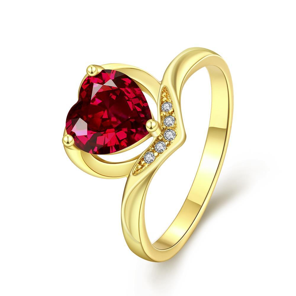 Vienna Jewelry Gold Plated Classical Heart Shaped Gemstone Ring