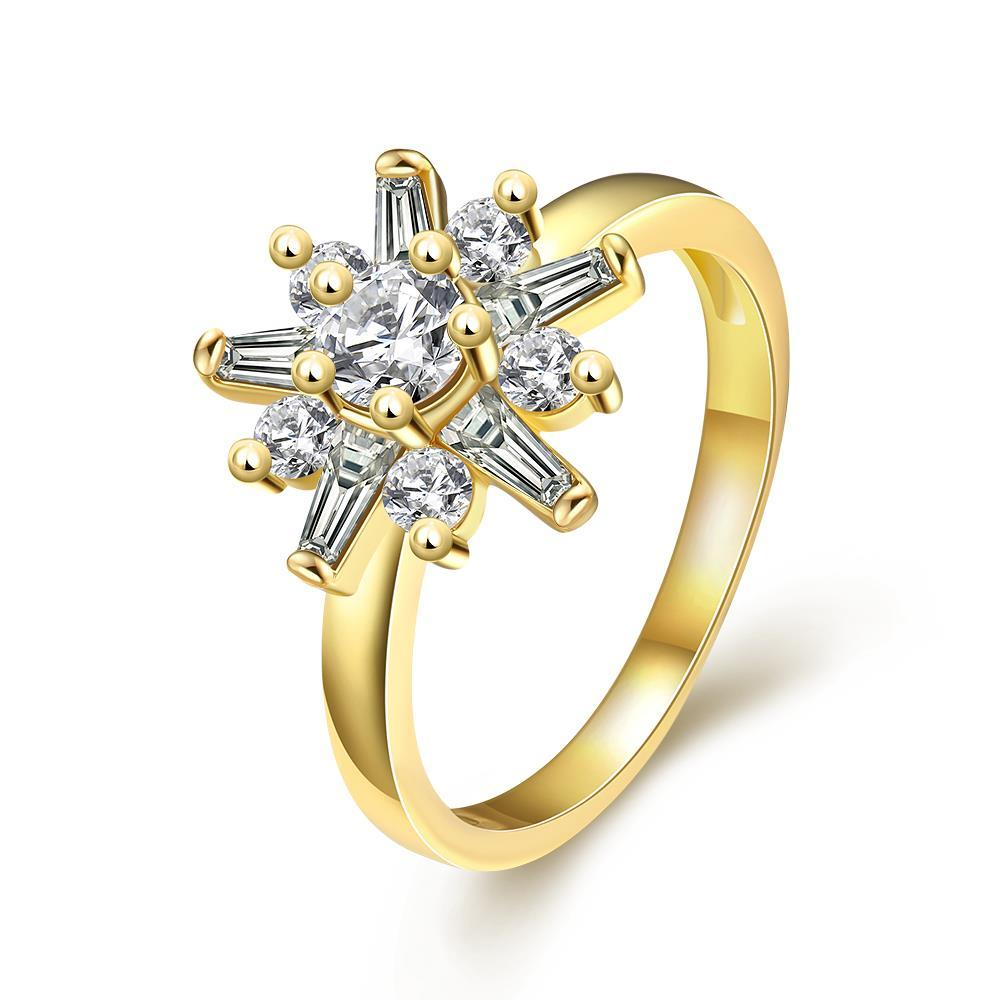 Vienna Jewelry Gold Plated Snowflake Jewels Ring