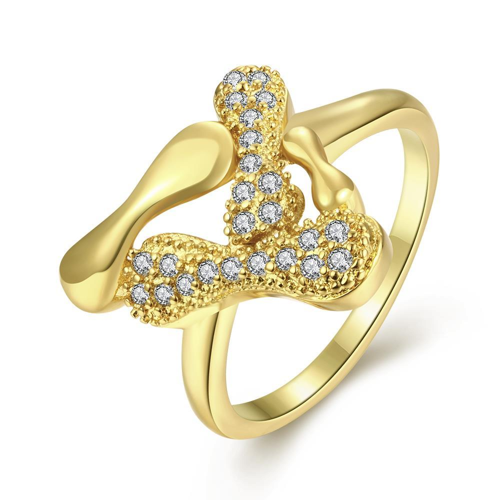 Vienna Jewelry Gold Plated Layering Wishbone Ring