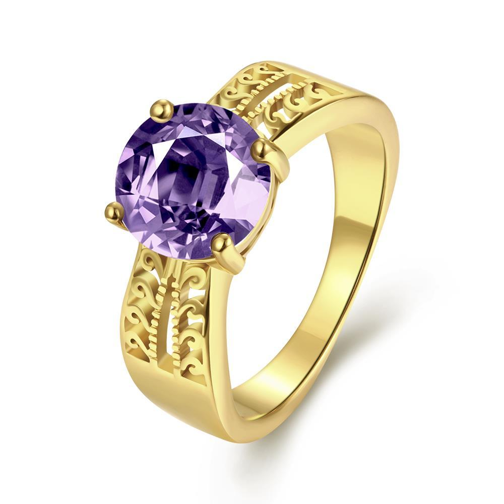 Vienna Jewelry Gold Plated Purple Citrine Modern Twist Ring