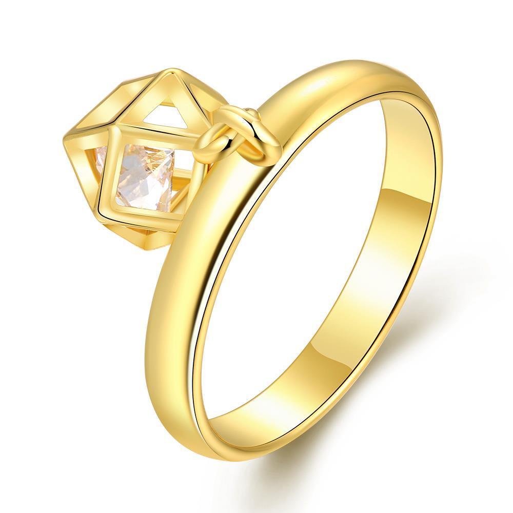 Vienna Jewelry Gold Plated Matrix Cage Jewel Ring