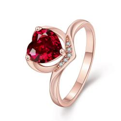 Vienna Jewelry Gold Plated Classical Heart Shaped Gemstone Ring - Thumbnail 0