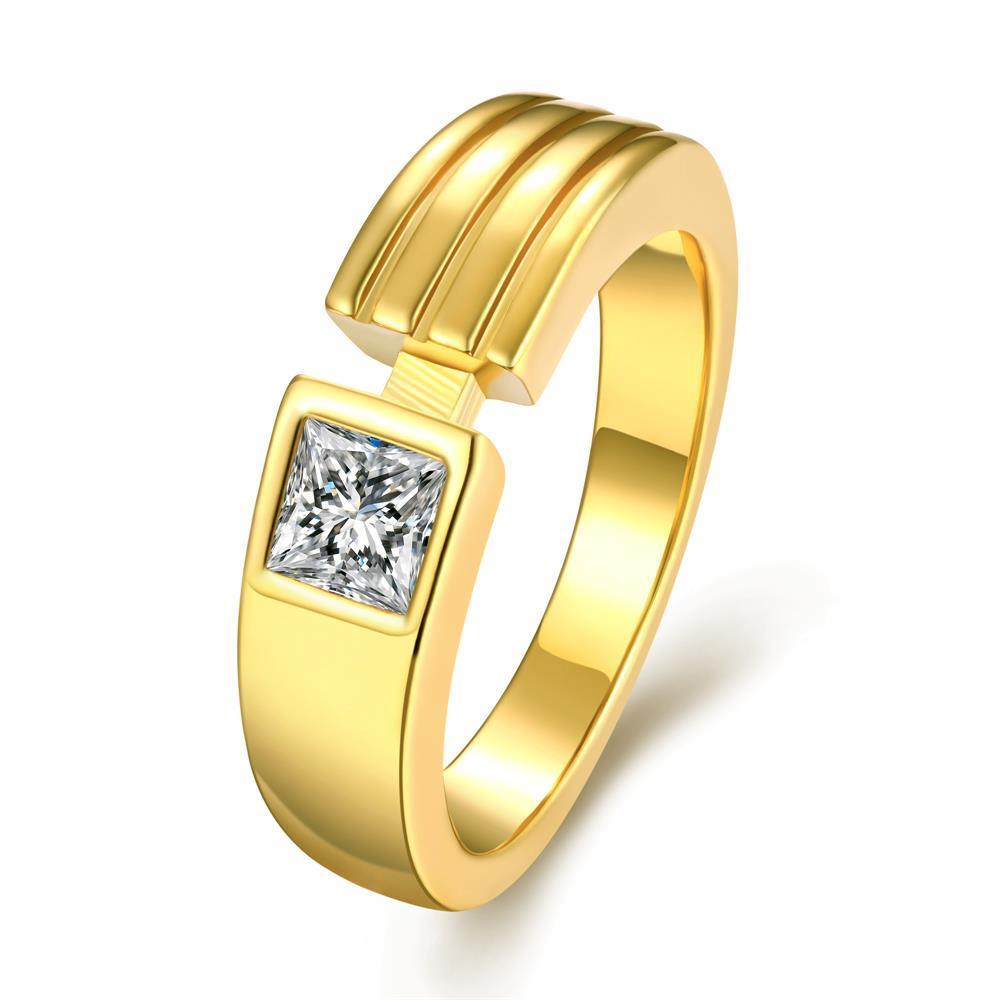 Vienna Jewelry Gold Plated Trio-Lined Crystal Ring