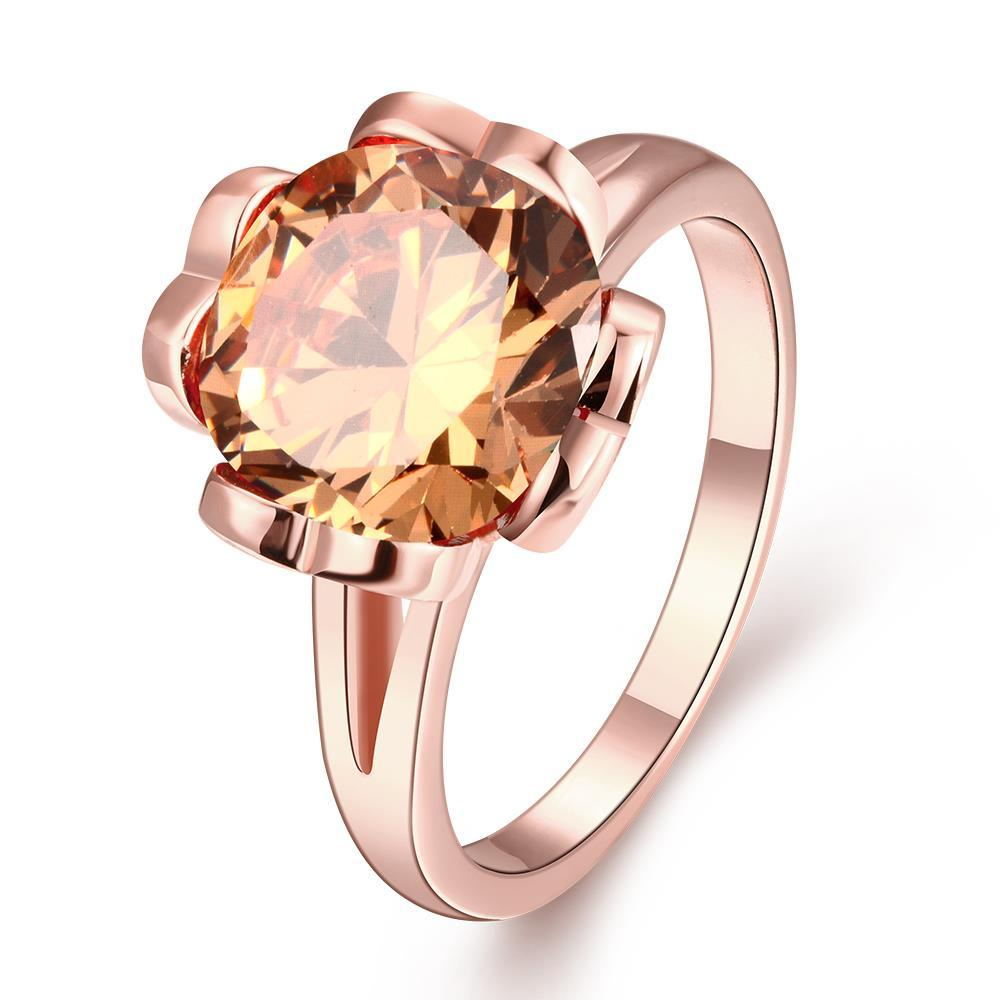 Vienna Jewelry Gold Plated Citrine Clover Inspired Ring