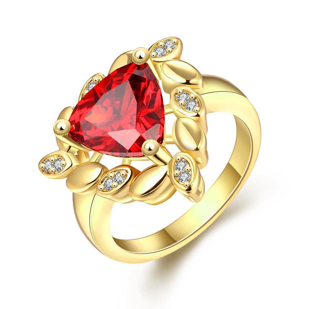 Vienna Jewelry Gold Plated Spiral Effect Gemstone Ring