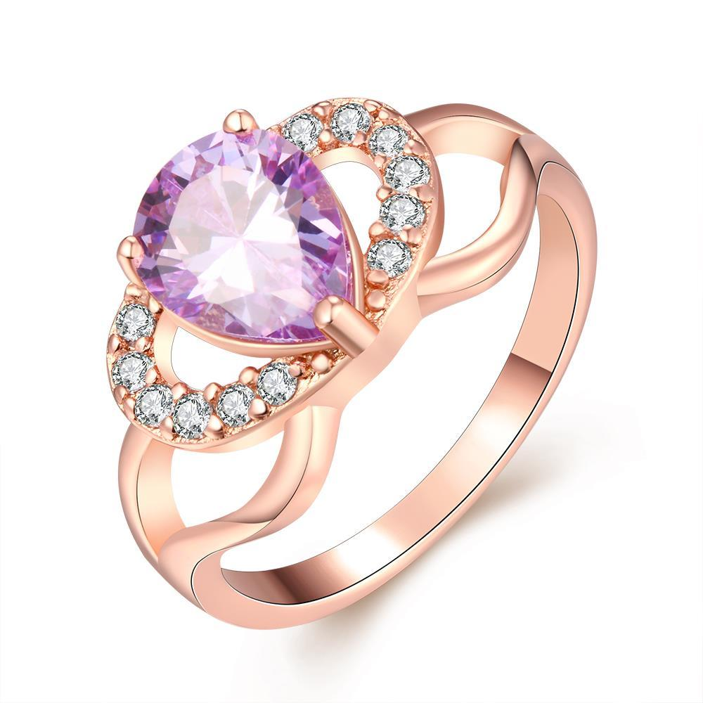 Vienna Jewelry Gold Plated Purple Citrine Love Knot Ring