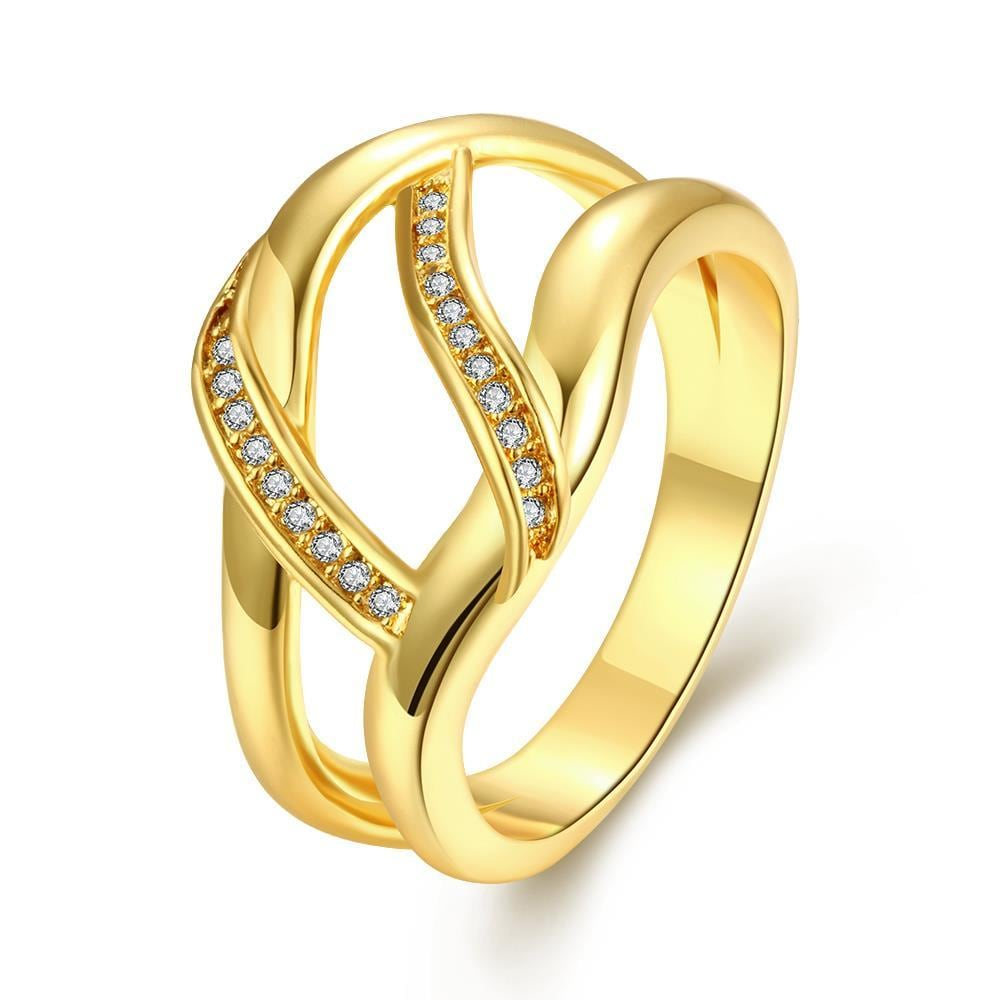 Vienna Jewelry Gold Plated Horizontal Wishbone Design Ring