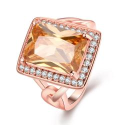 Vienna Jewelry Gold Plated Rectangle Citrine Modern Ring - Thumbnail 0