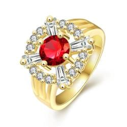 Vienna Jewelry Gold Plated Center Ruby Gem Ring - Thumbnail 0