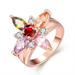 Vienna Jewelry Gold Plated Colorful Daisy Ring - Thumbnail 0