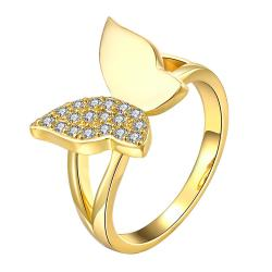 Vienna Jewelry Gold Plated Half-Toned Butterfly Ring - Thumbnail 0