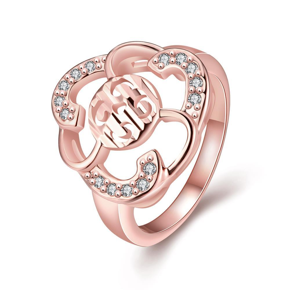 Vienna Jewelry Gold Plated Laser Cut Floral Cut Ring